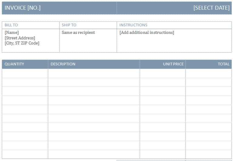 blank billing invoice template .