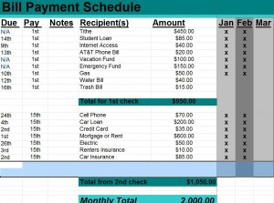 Bill Payment Schedule | Excel Bill Payment Schedule » Template Haven