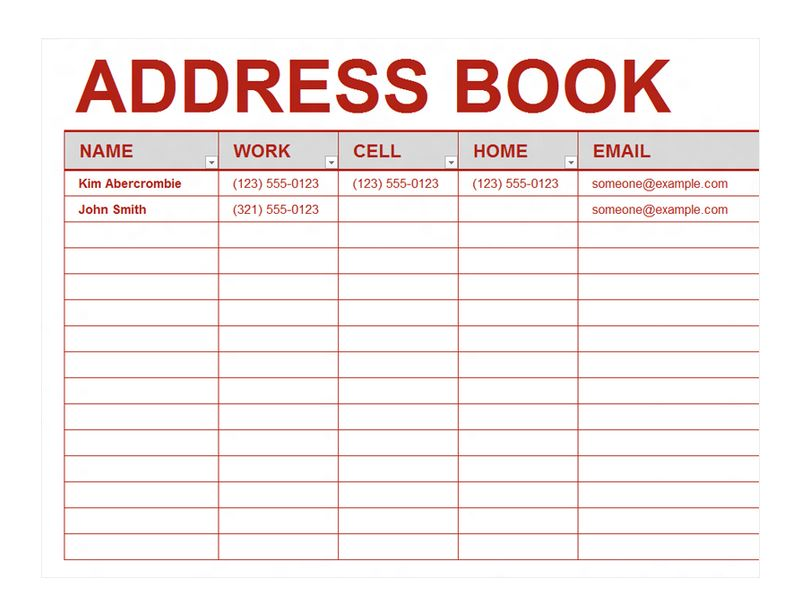 word 2013 book template - phone directory template excel