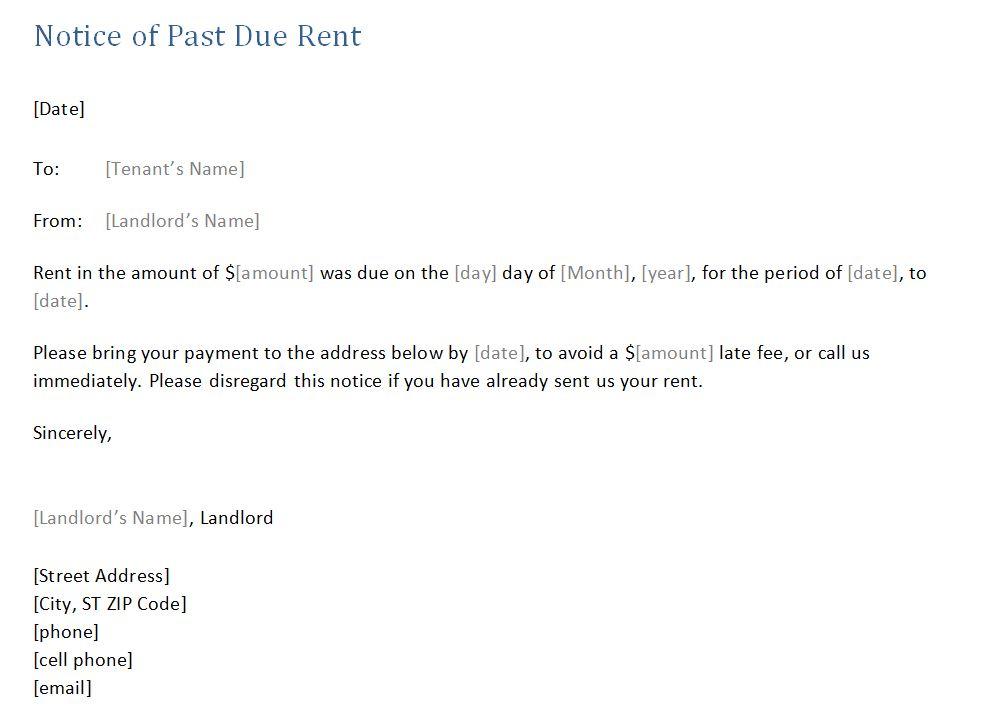 past due rent notice