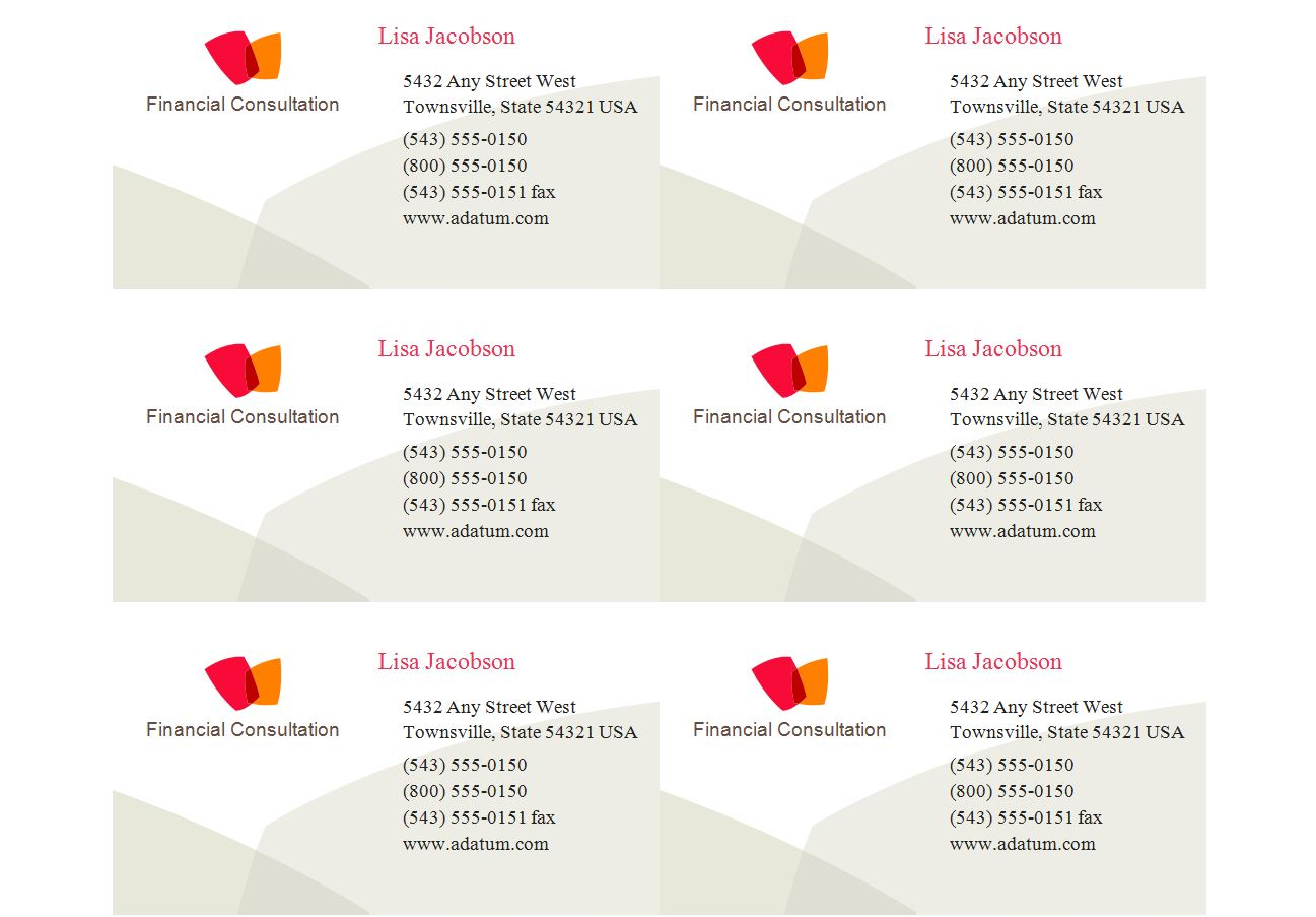 Avery Business Card Templates Word