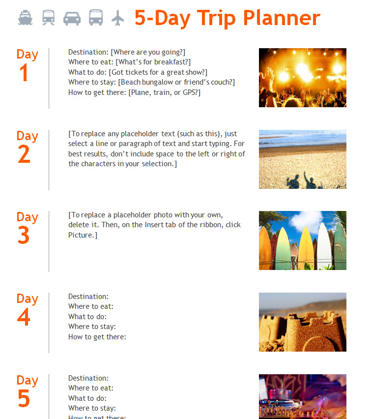 5 Day Trip Planner Template 187 Template Haven