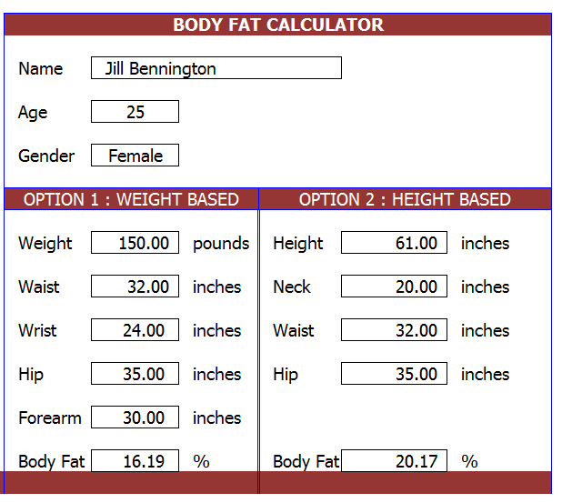 Body Fat Caculator 77