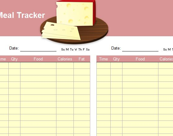 meal tracker template